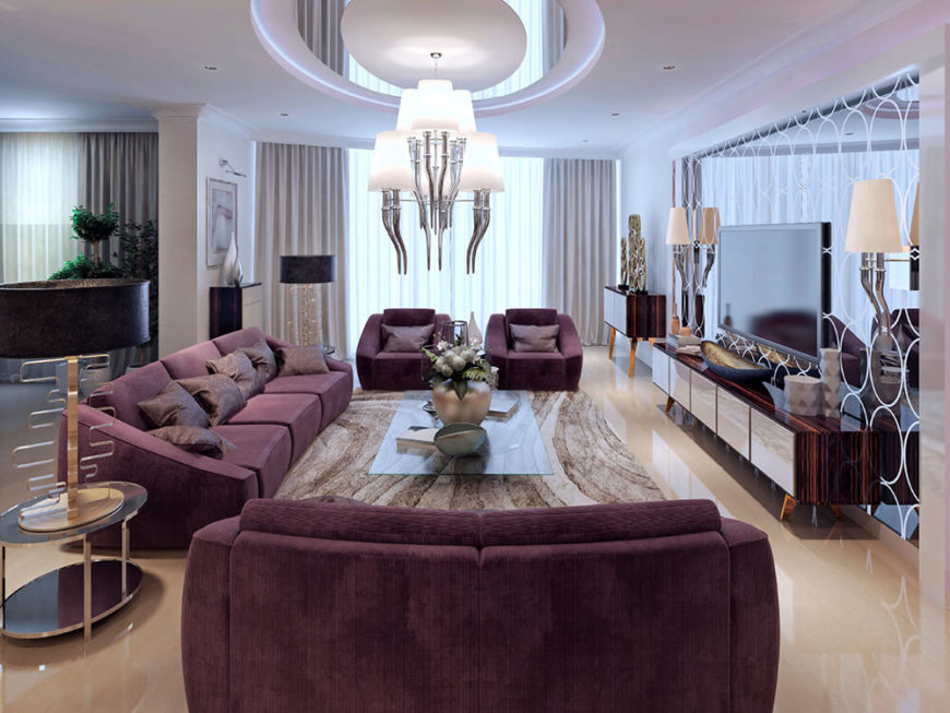 This Living Room Has A Small And Elegant Dome With Chandelier Hanging Down Out