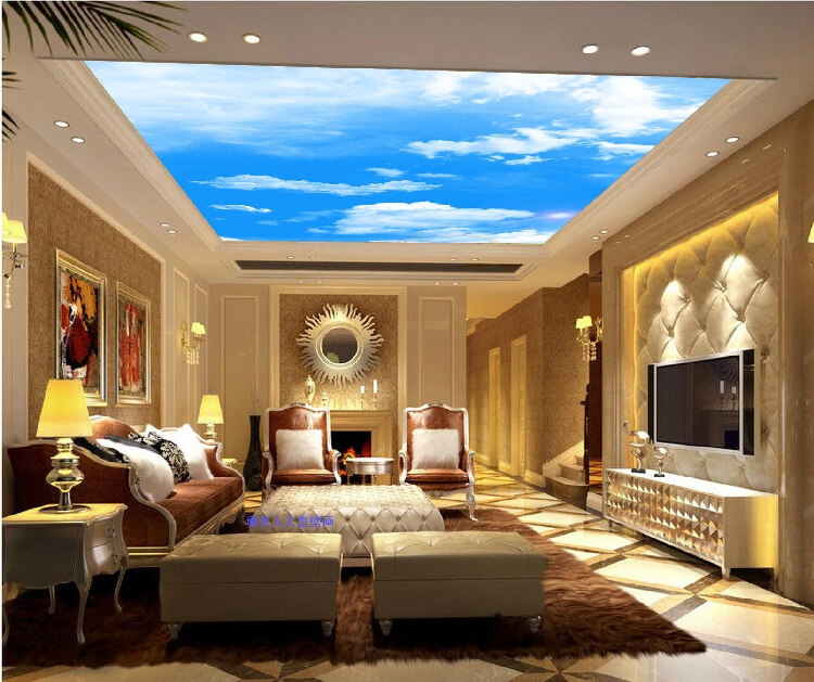 60 fantastic living room ceiling ideas for Ceiling mural in a smoker s lounge