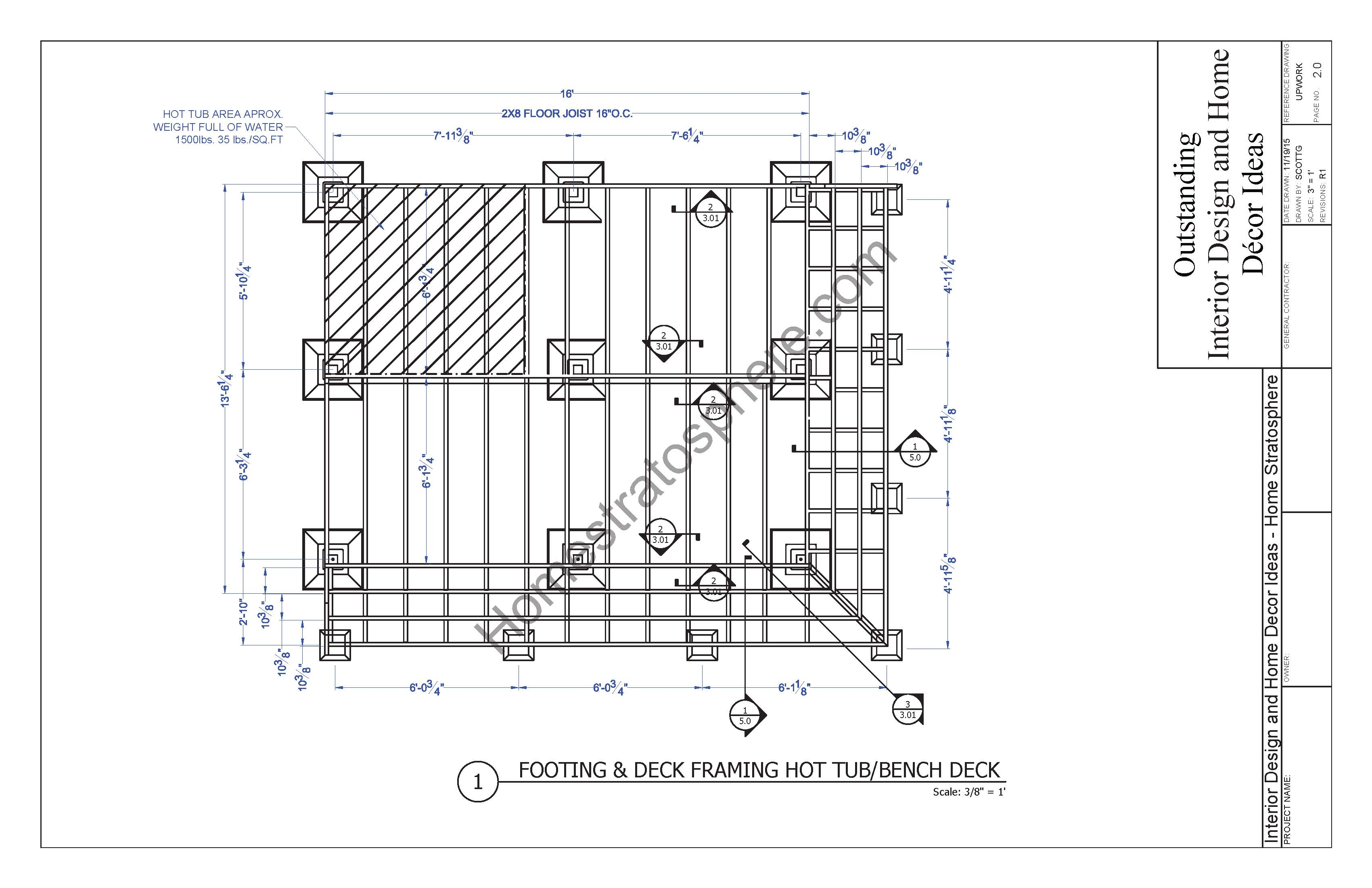 Hot tub deck design plan free pdf download Blueprint designer free