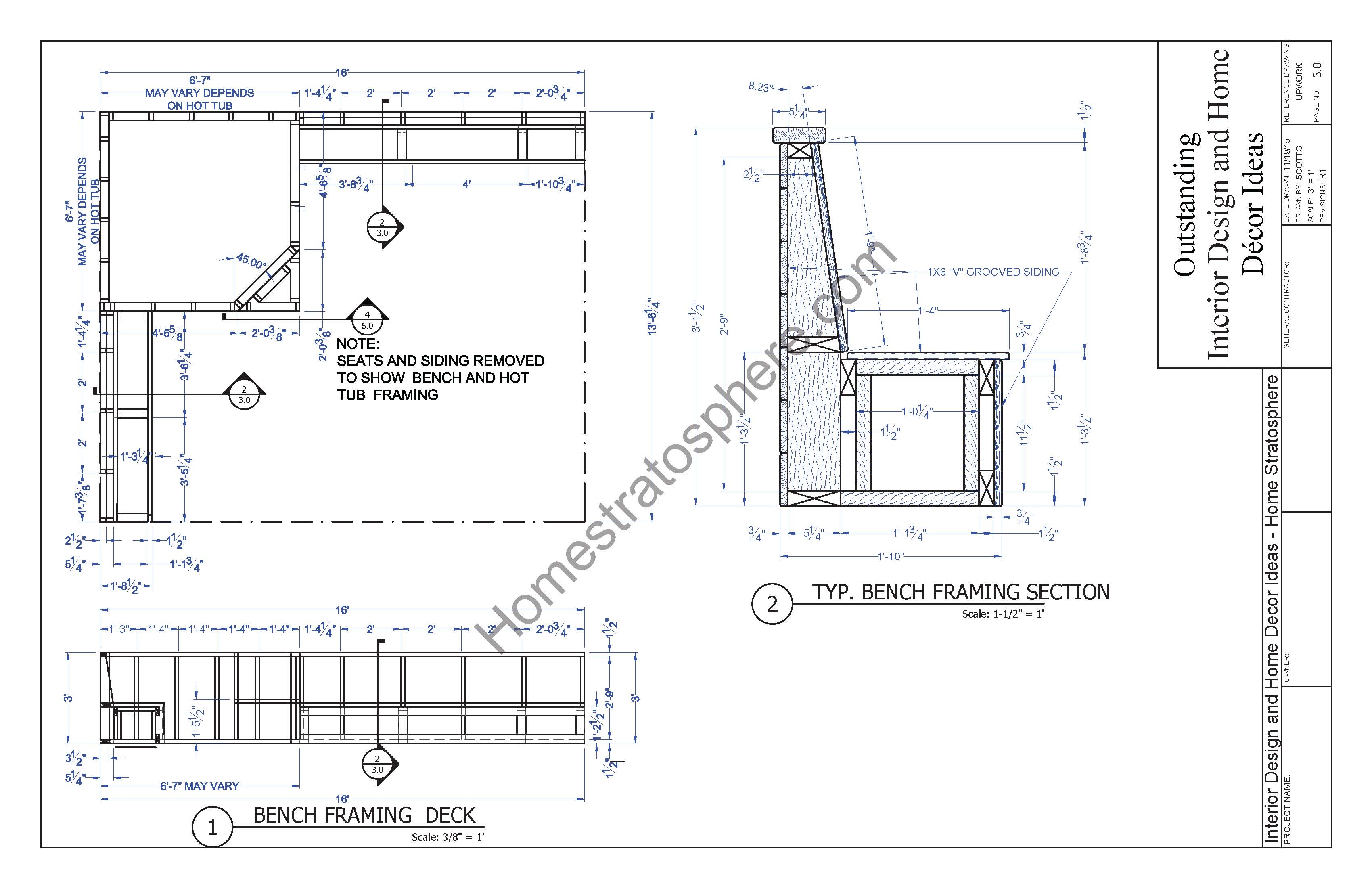 Hot tub deck design plan free pdf download for Balcony dimensions