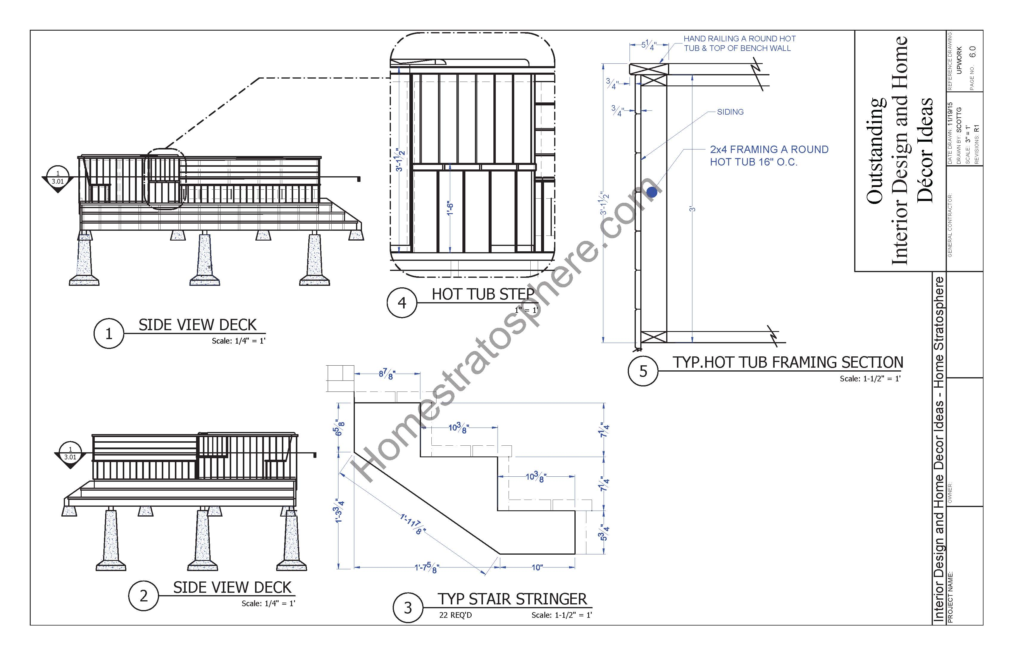 Hot tub deck design plan free pdf download for Hot tub deck designs plans