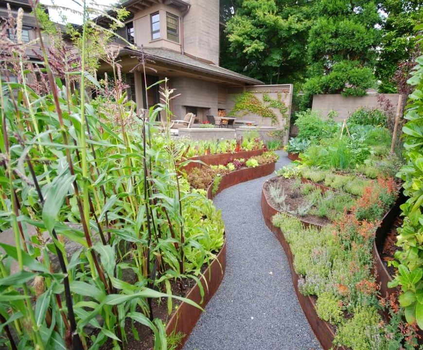 Metal Sheeting Can Be Used To Shape Interesting And Unique Garden Beds.  With The Right