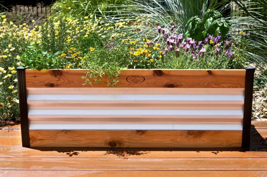 Raised Garden Bed Design if you are someone that likes to add a little flare to your design then you might like this raised garden bed option This Raised Garden Bed Is Made From Two Materials The Metal Provides And Interesting And