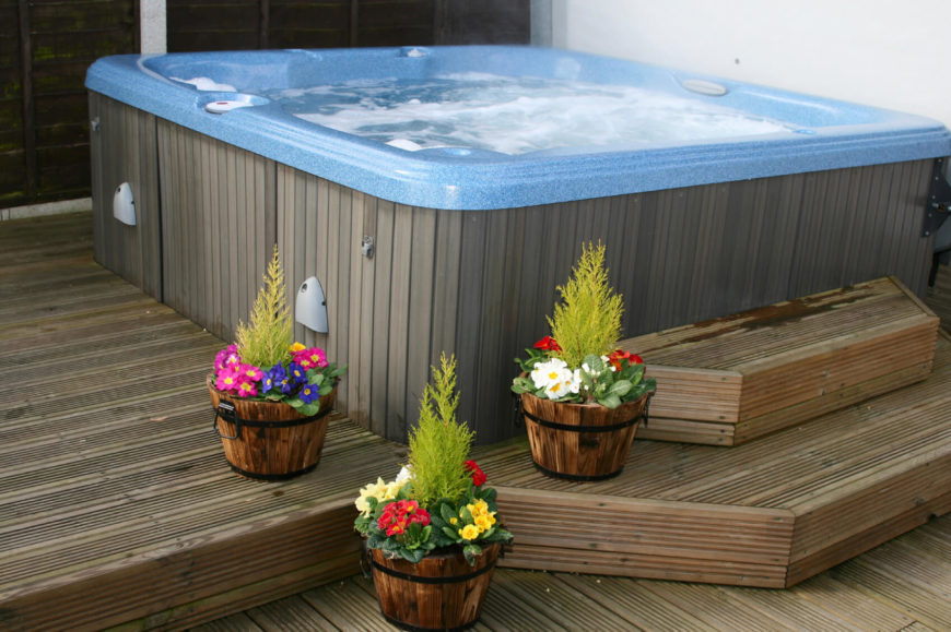 in ground pool and hot tub designs above design ideas automatic cover backyard