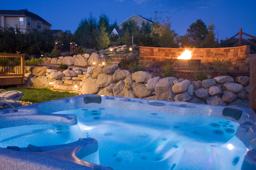 Backyard Hot Tub Ideas a patio with an in ground hot tub jacuzzi and a fireplace could make every If You Have Put In A Great Deal Of Work Into Your Landscaping And Lighting Of