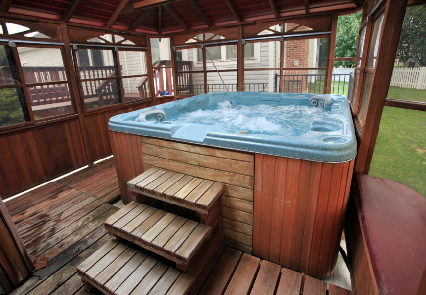 Backyard Hot Tub Ideas hot tub landscaping privacy backyard hot tub landscaping ideas hot tub time machine pinterest backyards pictures and low maintenance With A Small Patio Some Simple Walls And A Roof You Can Make Your