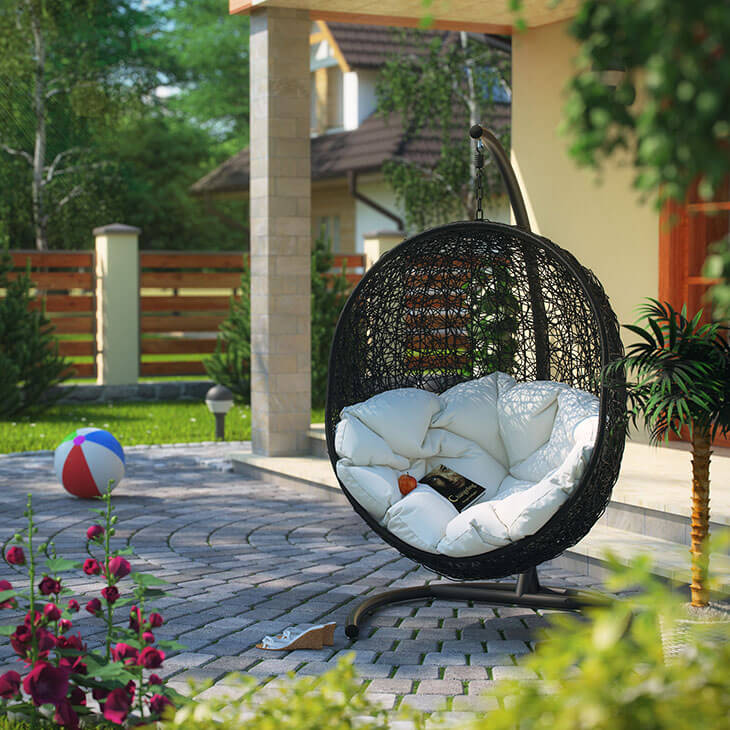 an oval egg shaped swing is a design you dont see too often