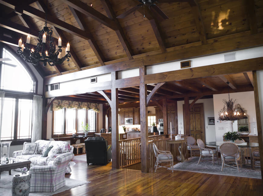 How much does a living room cost for Vaulted ceiling with exposed beams