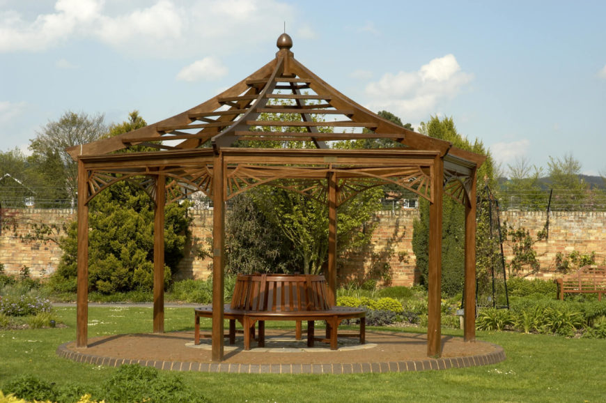 there is no better place for a bench than under a pavilion it is a - Patio Pavilion Ideas