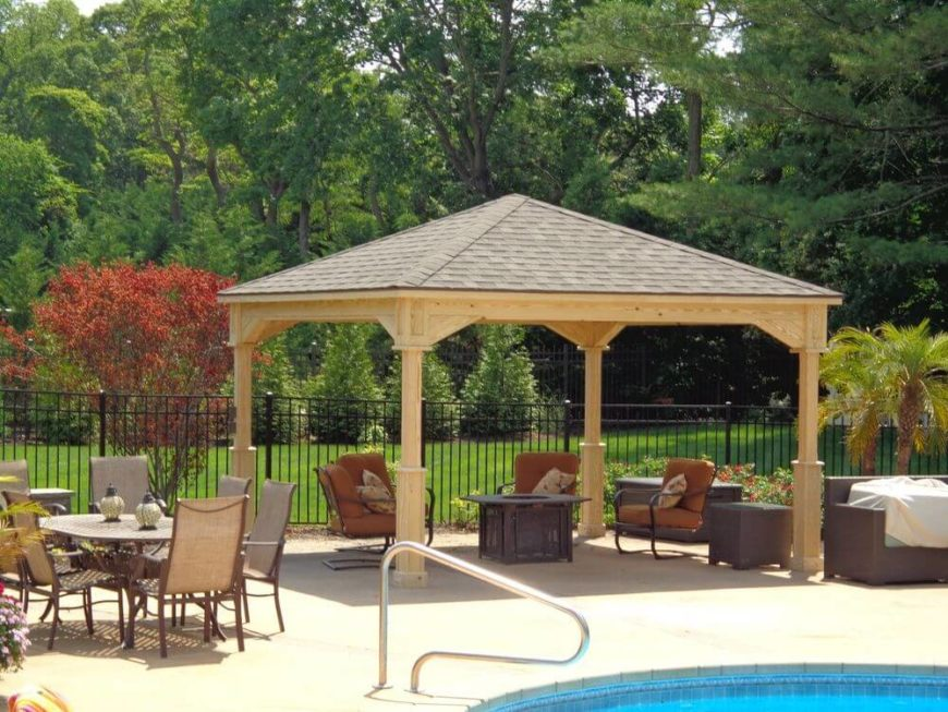 here is a simple pavilion by a pool this pavilion is a great pavilion