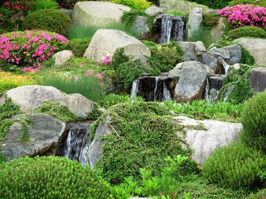 Rock Garden Water Feature Ideas how to build a low maintenance water feature outdoor projectsoutdoor ideasdiy A Water Feature Alongside Wild Moss And Vines Gives A Rock Garden A Stunning Natural Feel