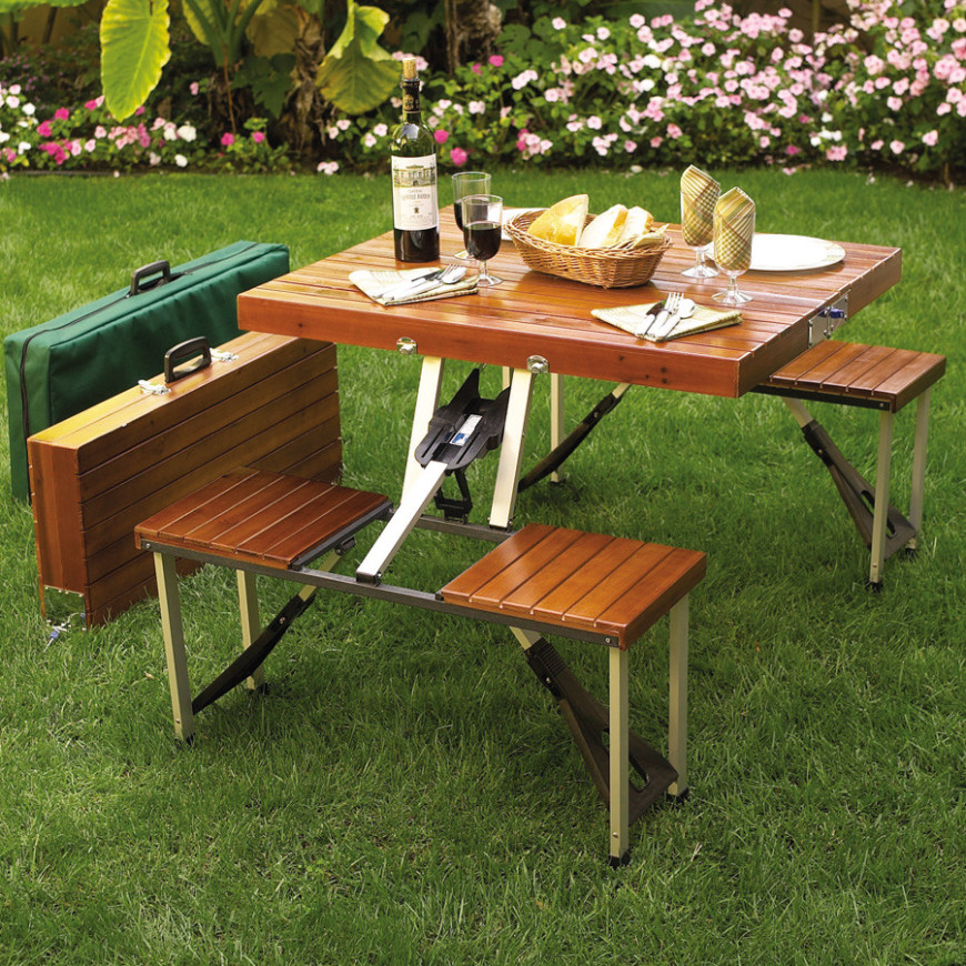Elegant Here Is A Portable Picnic Table With A Wooden Look. This Model Folds Up Into