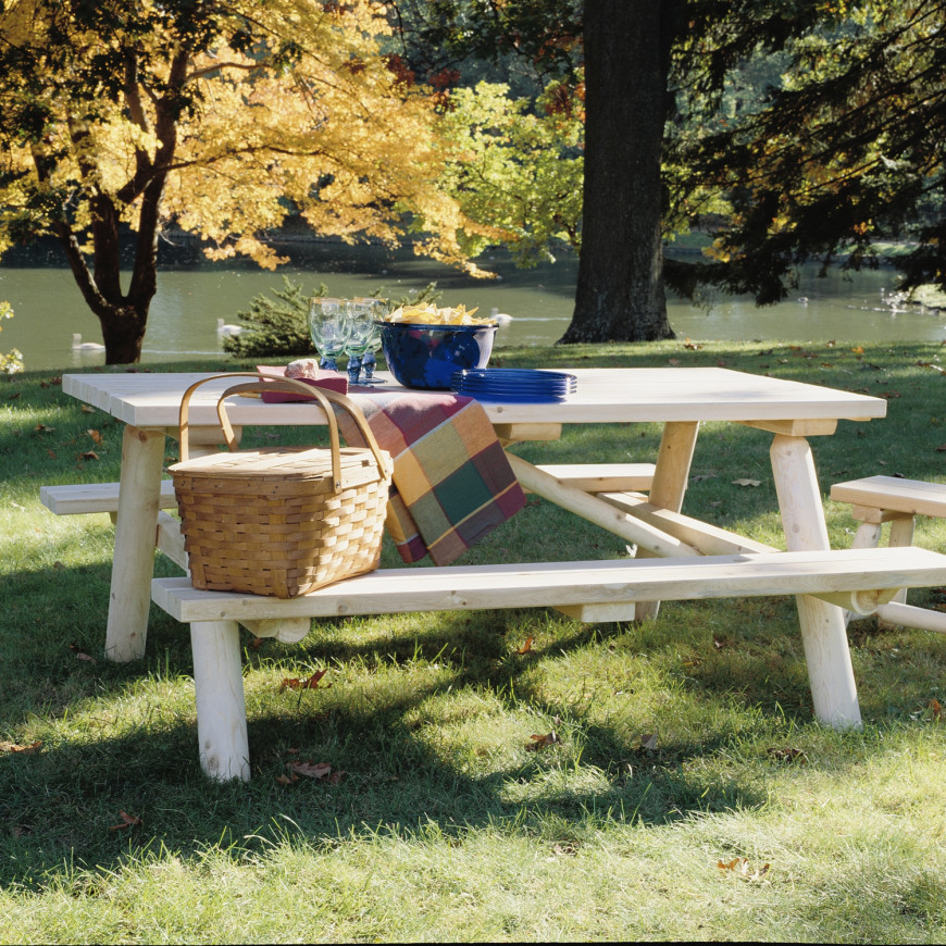 this is what many people envision when they think of picnic tables this is a