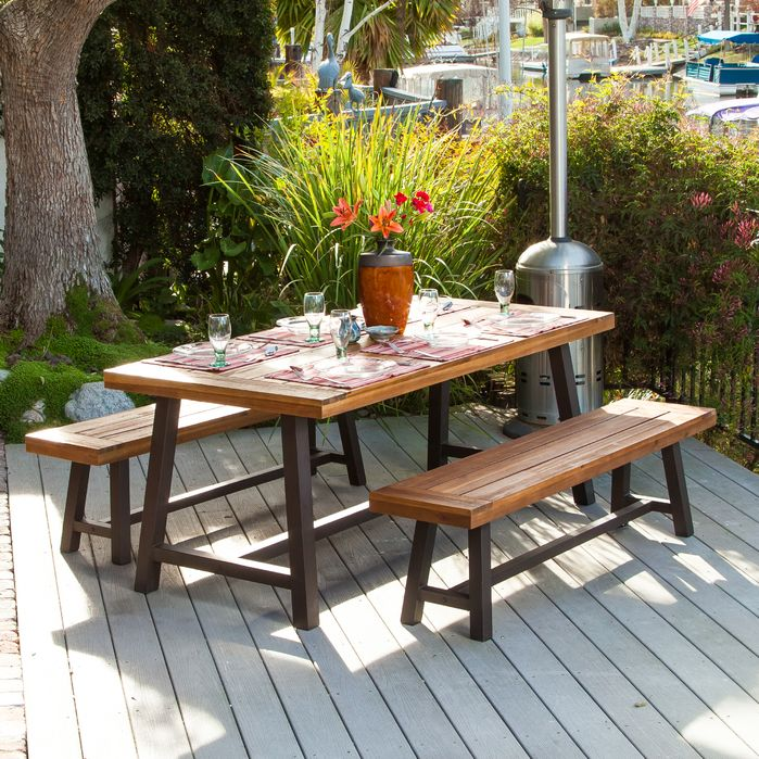 Outdoor Dining Table Ideas mediterranean patio idea in sacramento with a roof extension This Picnic Table Is Perfect For A Small Patio Or Backyard It Is An Intimate