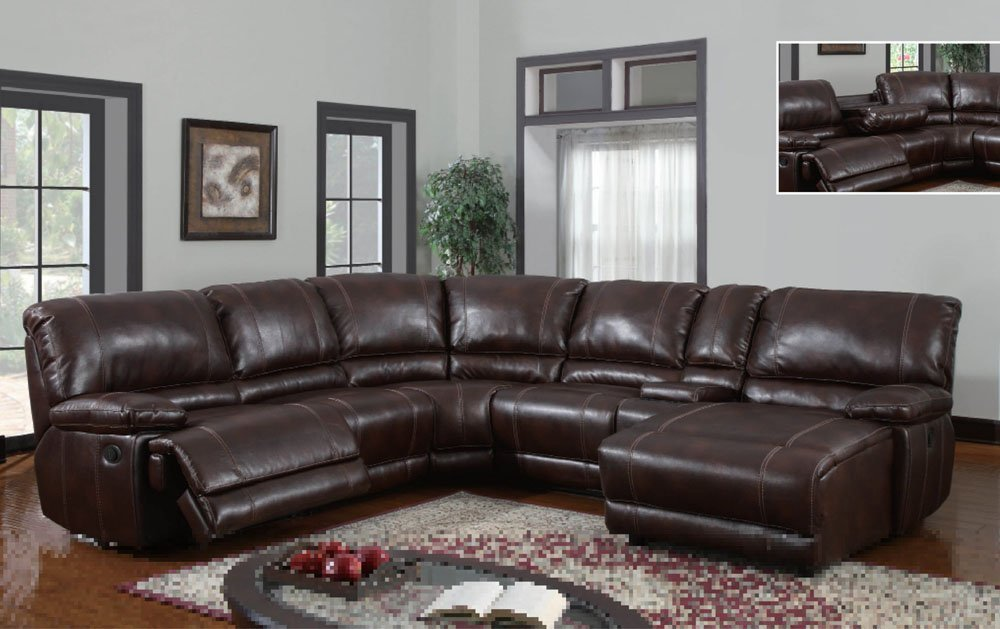 3 Piece Bonded Leather Sectional Reclining Nail Head Accent Sofa : reclining leather sectional sofa - Sectionals, Sofas & Couches