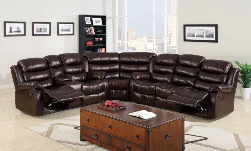 Classic Berkshire Dark Brown Leather-Like Fabric Reclining Sofa : reclining leather sectional - islam-shia.org