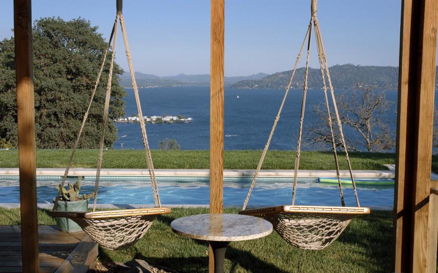 38 lazy day backyard hammock ideas for Swing over water