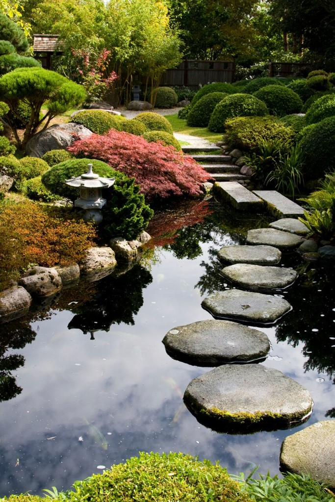 this balanced garden has a natural and asymmetric pond ponds are common in japanese gardens