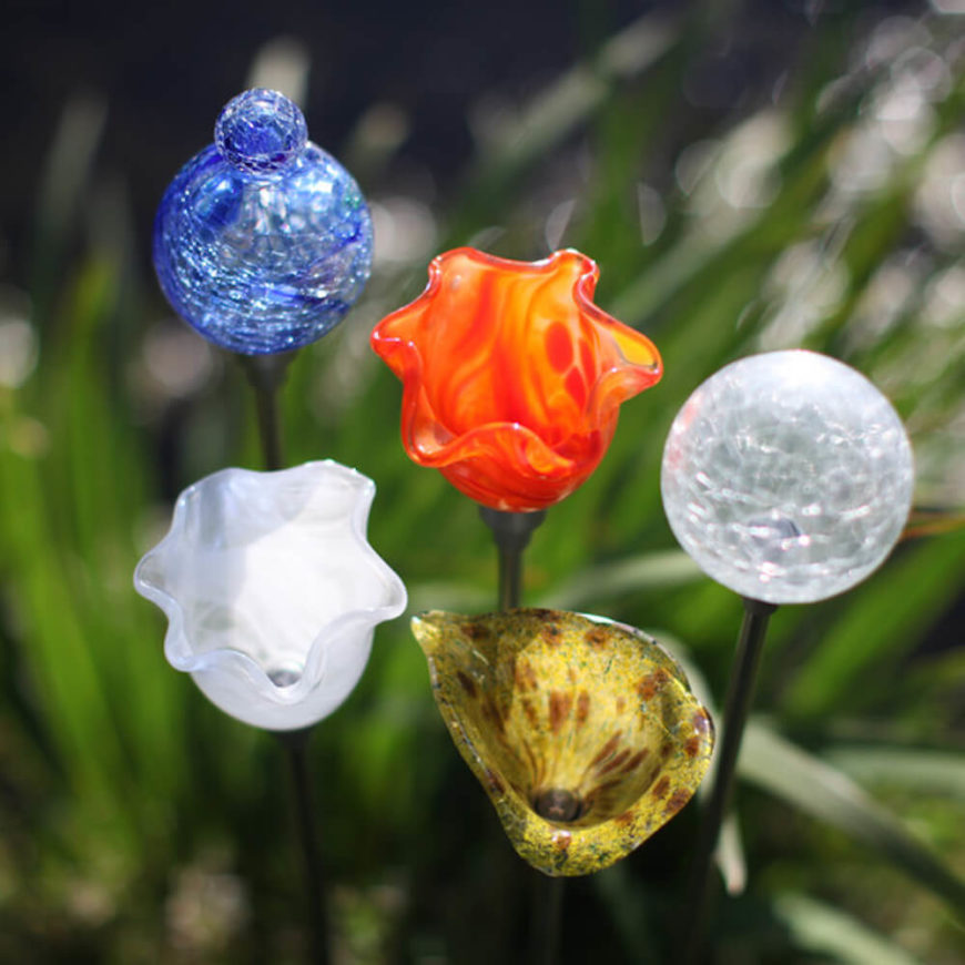 These stake lights are great for a garden. During the day they blend into the garden with their color and shapes. At night they provide light while keeping with your garden's colorful theme.