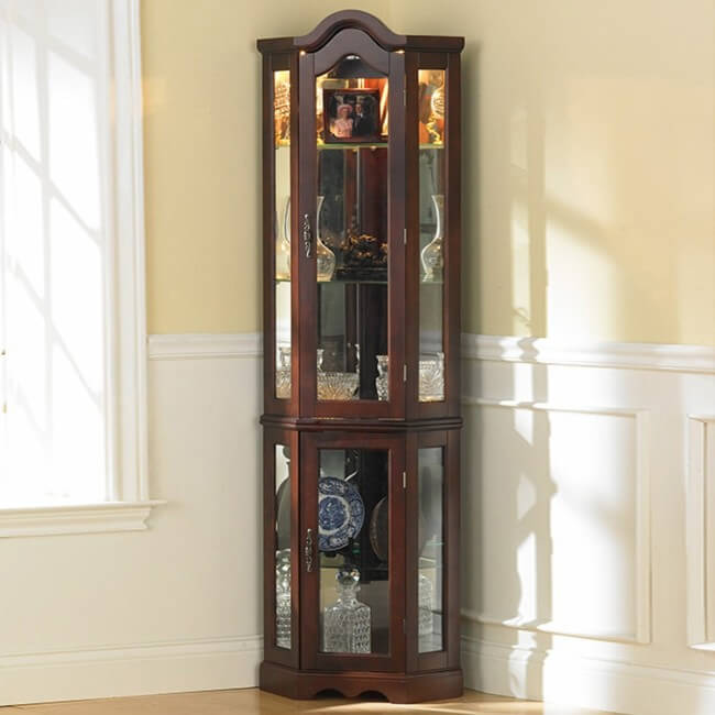 coaster solid wood glass corner china curio cabinet cherry finish
