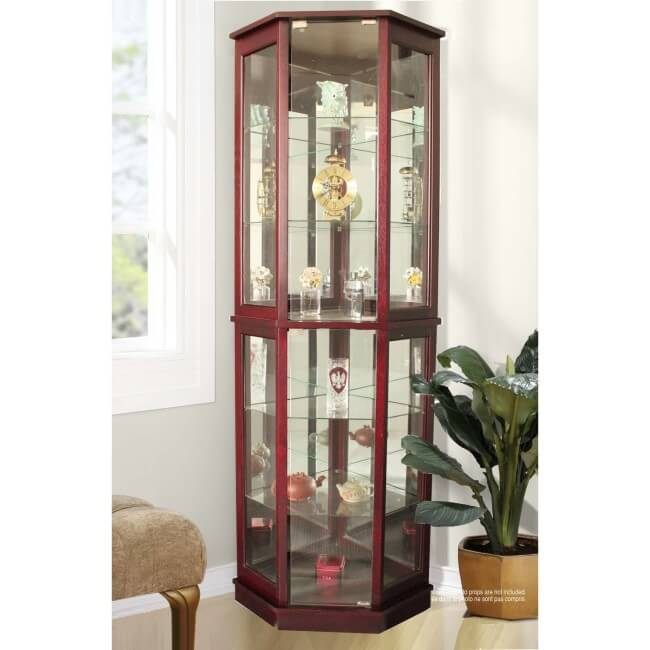 Jenlea Lighted Standing Corner Curio Cabinet and Trophy Display Case ...