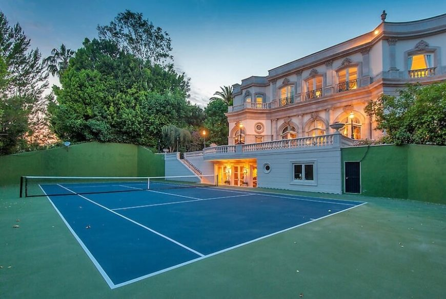 Backyard Sport Court Ideas backyard sports courts If You Have Uneven Landscaping You Can Build A Tennis Court Lowered Into The Ground