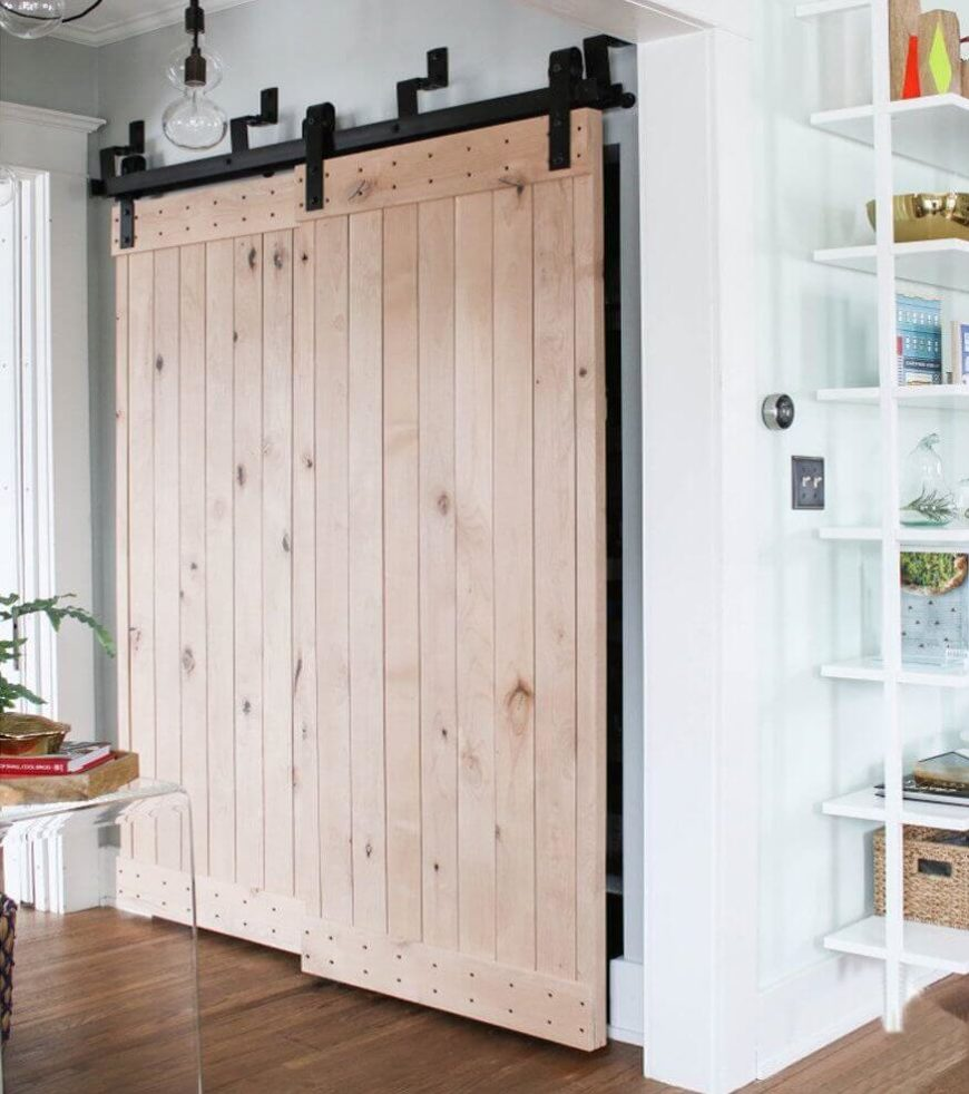 30 sliding barn door designs and ideas for the home for Barn door closet hardware