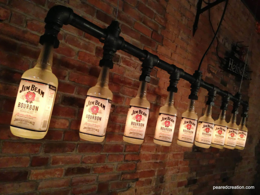 industrial look lighting fixtures. beautiful lighting this lengthy industrial chandelier repurposes empty jim beam bourbon  bottles and was featured on in industrial look lighting fixtures