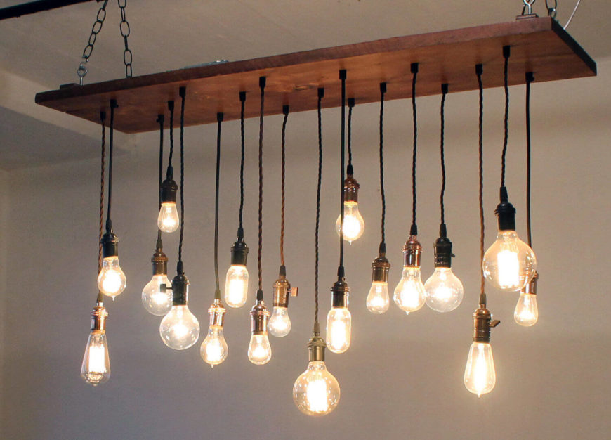 industrial lighting design. this beautiful chandelier is made with reclaimed barn wood black antique replica cloth cords industrial lighting design t