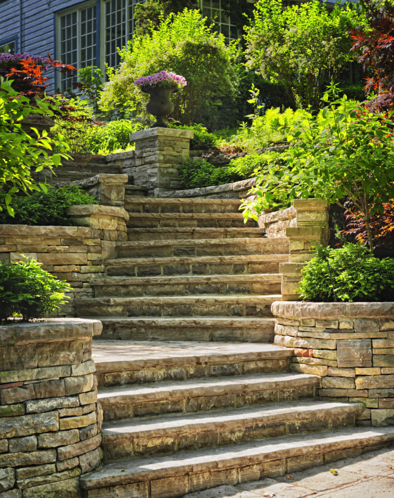 Marble Wall Stairs : Magnificent backyard stone step ideas