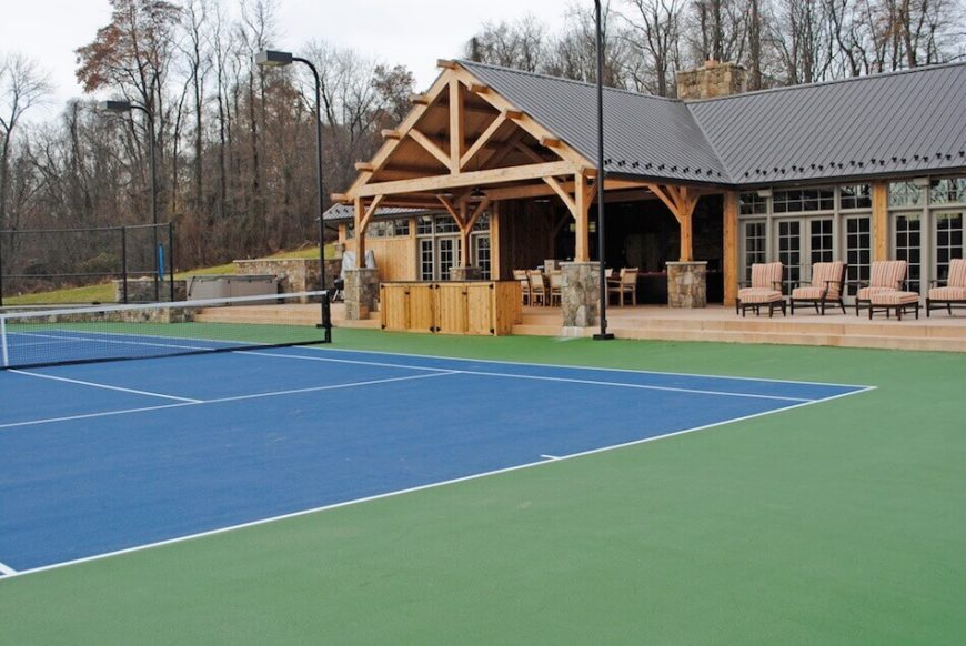 Backyard Sport Court Ideas backyard sports Tennis Courts Can Range In Color Depending On Material While Most Courts Lean Toward Green