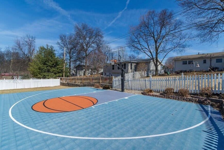 Backyard Sport Court Ideas here is a court with basketball hoops on the long ends of the tennis court Here Is A Fabulous Basketball Court With A Painted Key This Court Was Designed With