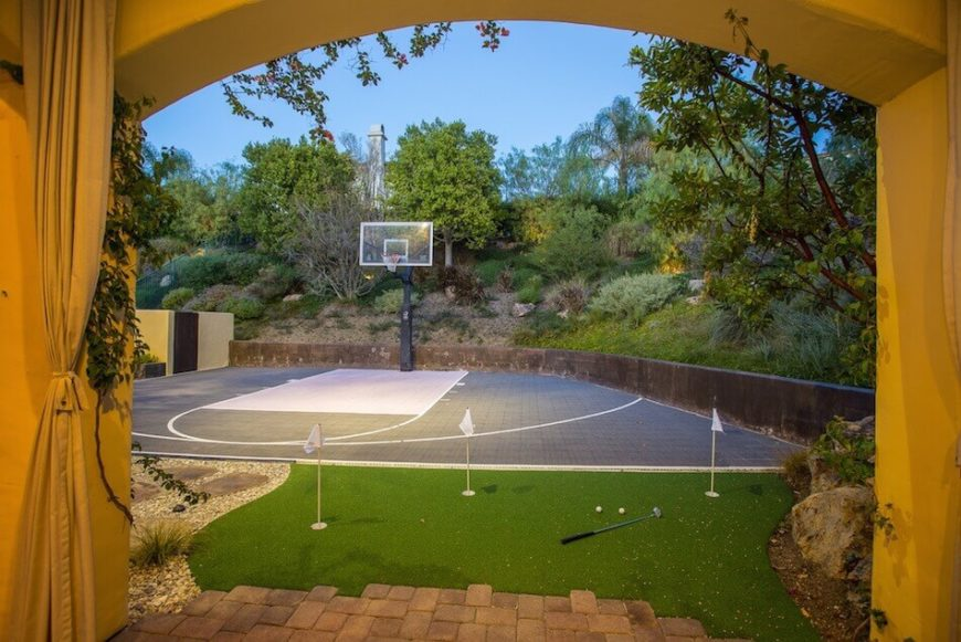 Backyard Sport Court Ideas basketball court surfaces and paint This Half Court Is A Great Space To Practice Shots It Is Particularly Useful For