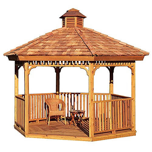 14 cedar wood gazebo designs octagon rectangle hexagon and oval styles - Build rectangular gazebo guide models ...