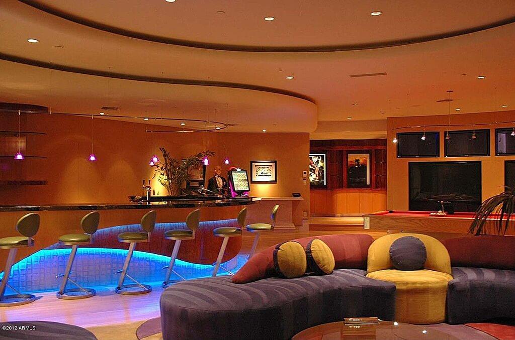 63 finished basement man cave designs awesome pictures for Coolest basements