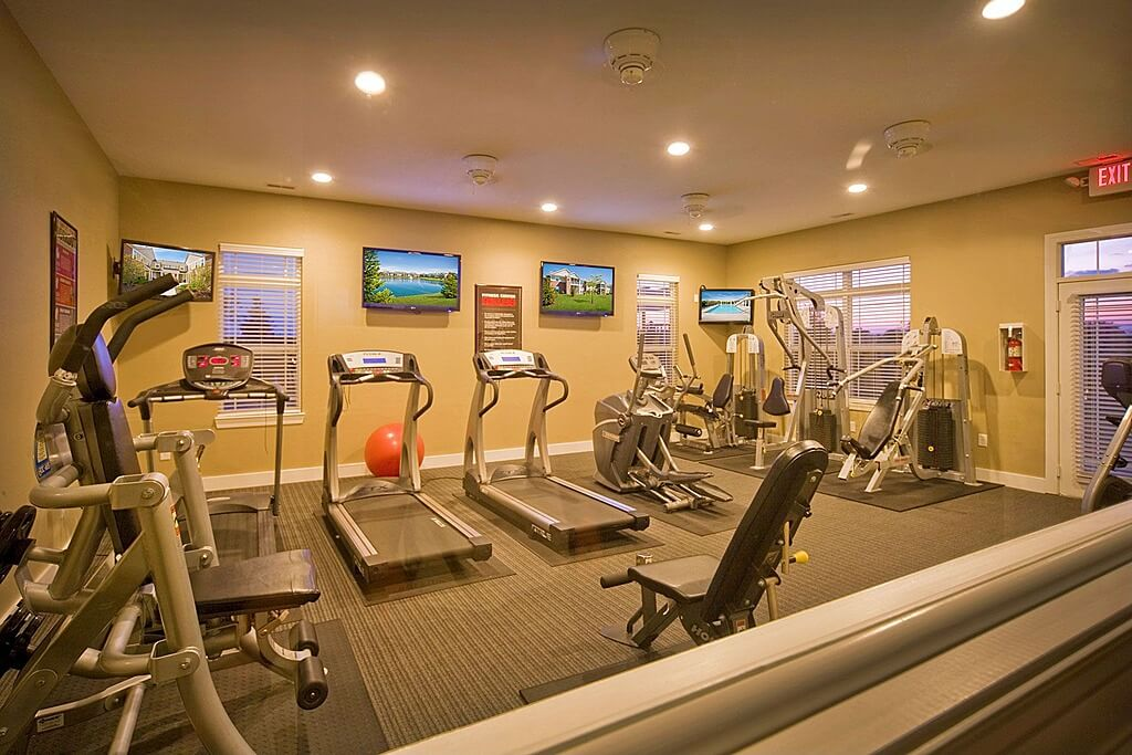 large cardio and weight machine home gym with televisions on the wall - Home Gym Design Ideas