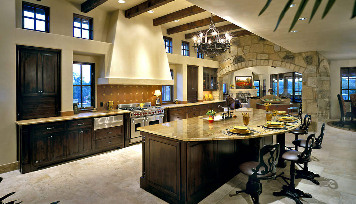 delightful Round Kitchen Island With Seating #8: Luxury kitchen interior design in open living space with elevated ceiling.  Large island is semi