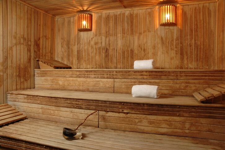 a good sauna design for lying down three levels each bench having a head - Sauna Design Ideas