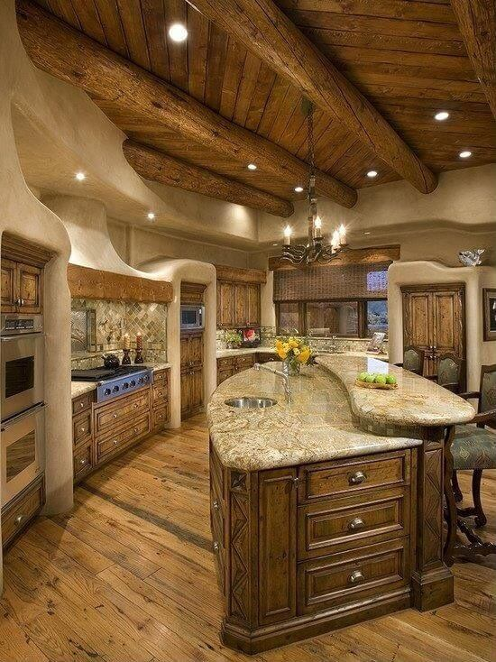 64 deluxe custom kitchen island designs beautiful for Log home kitchen designs