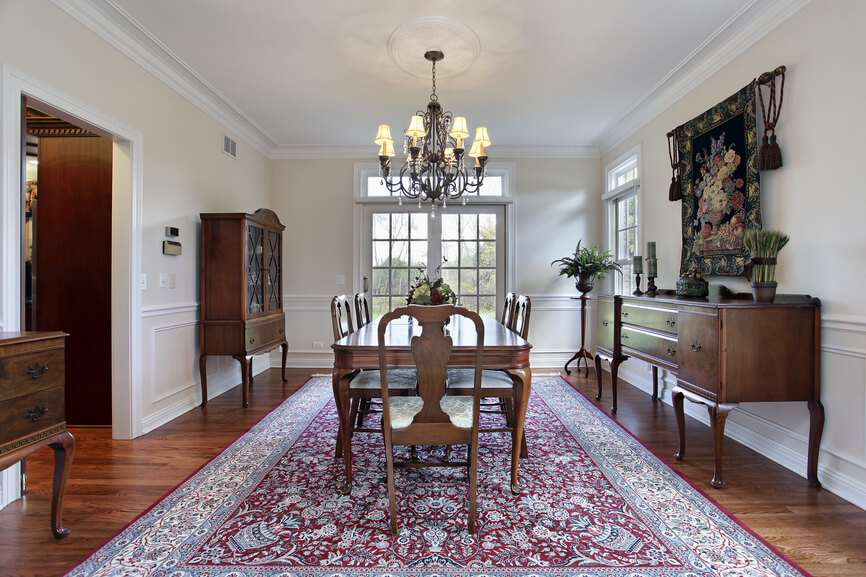Simple Dining Room With White Ceiling And Walls Dark Wood Floor Large Burgundy Patterned