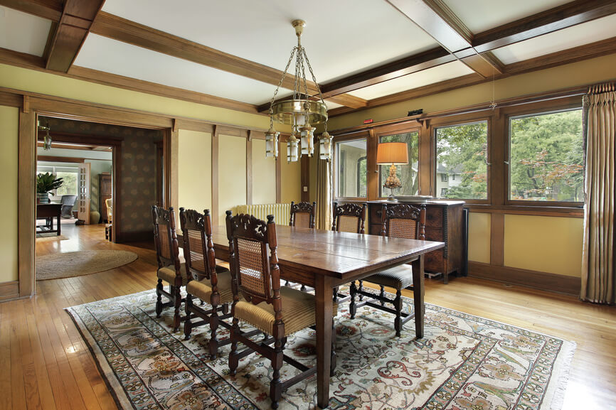 Heavily Wooded Dining Room With Wood Beams On Ceiling And Walls. Hard Wood  Floor With Part 75