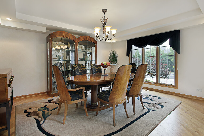 Large Square Dining Room With Oval Table That Seats Seix People Custom Wood