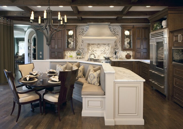 luxurious space saving kitchen island with built in booth