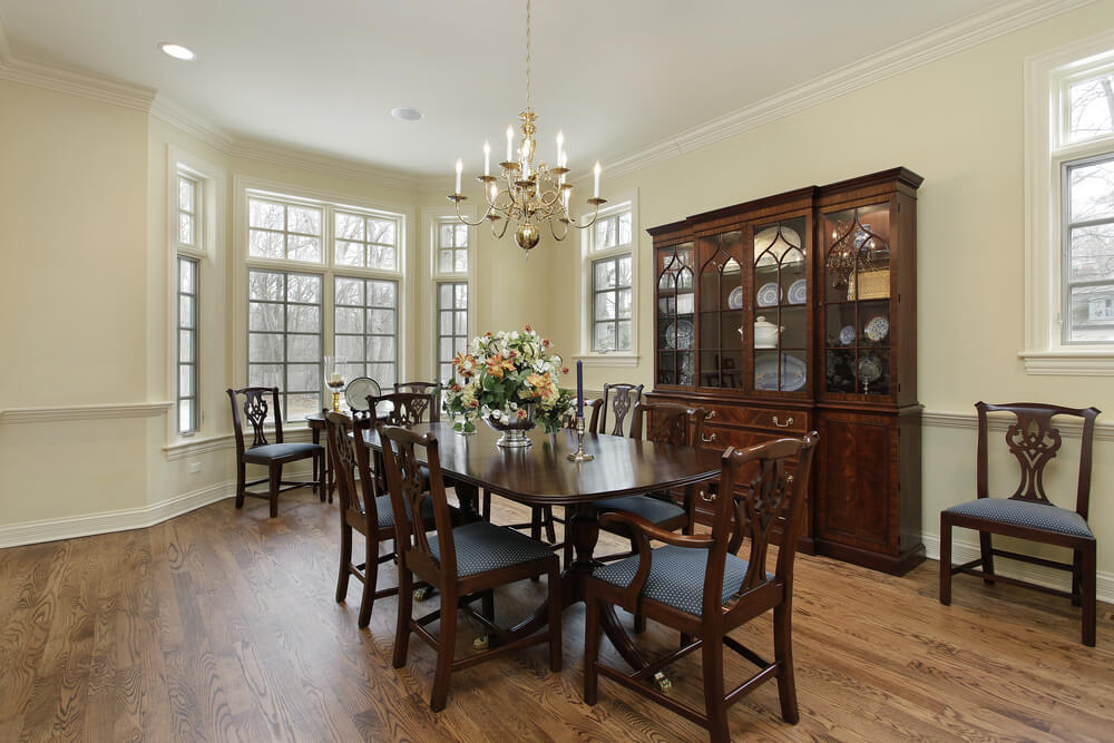 Great Long Dining Room With Bay Window, Antique China Cabinet And Dark Wood Dining  Table With Part 19