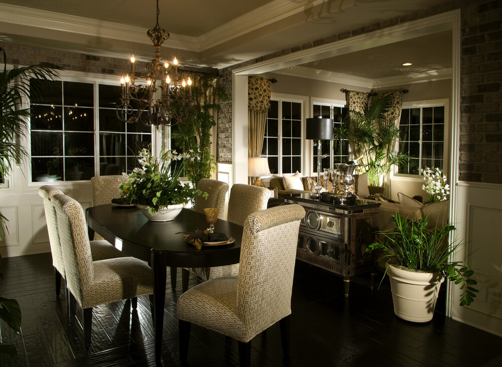Dining Room Space That Opens Up To Living Room. Dark Wood Floors Match The  Dark Part 36