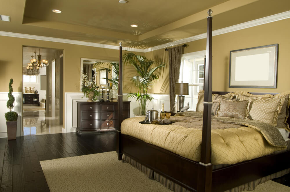 Spacious brown and white bedroom
