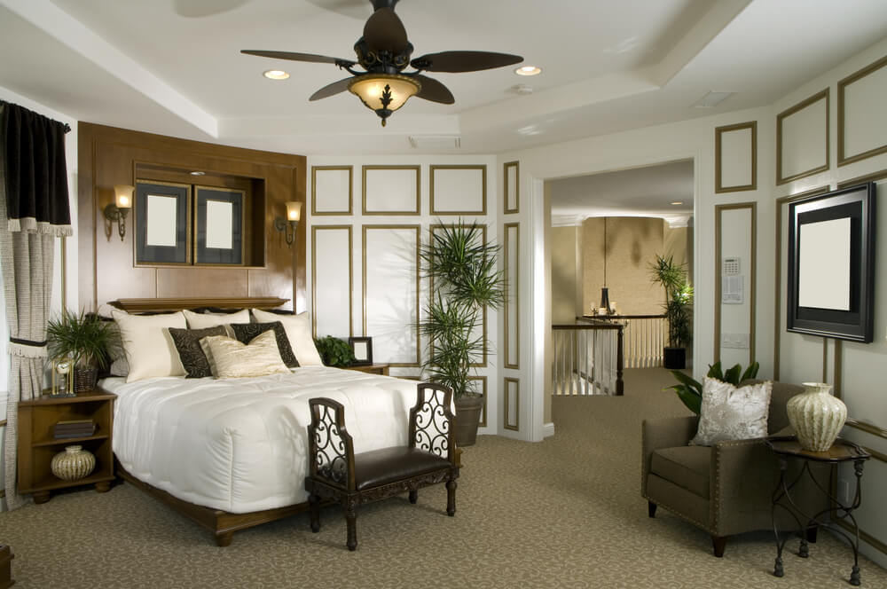 This bedroom layout veers from the common square or rectangle layout.