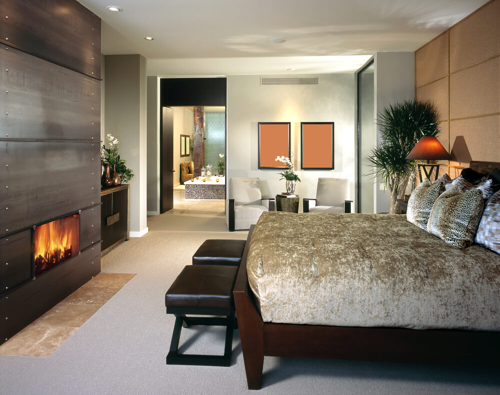 Bedroom sitting area with fireplace - Modern Bedroom Design In Grey And White And Various Shades Of Brown