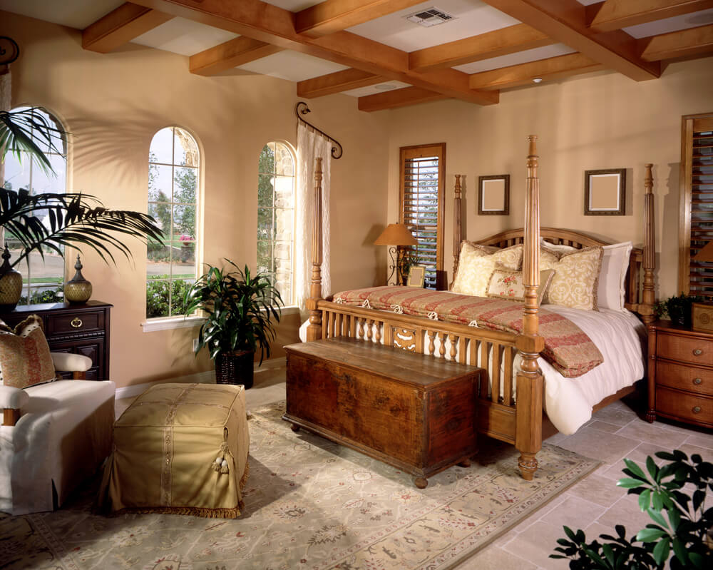 Moderately Sized Master Bedroom In Southwest Design