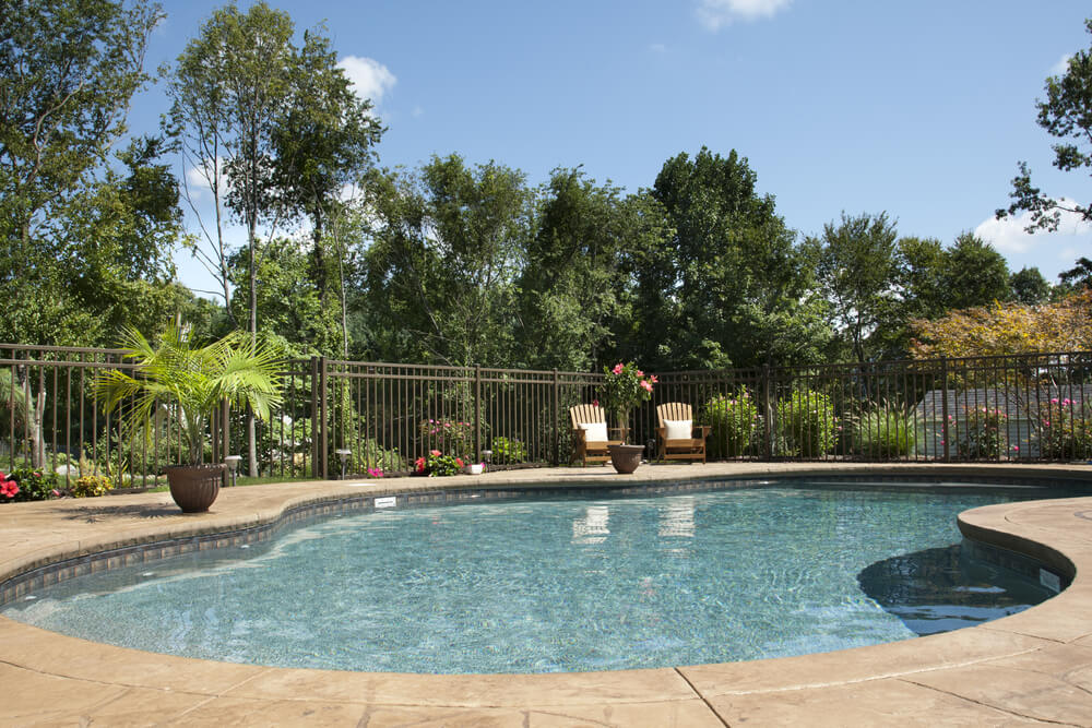Backyard Pool With Wrap Around Patio And Iron Fence. Beyond The Fence Is A